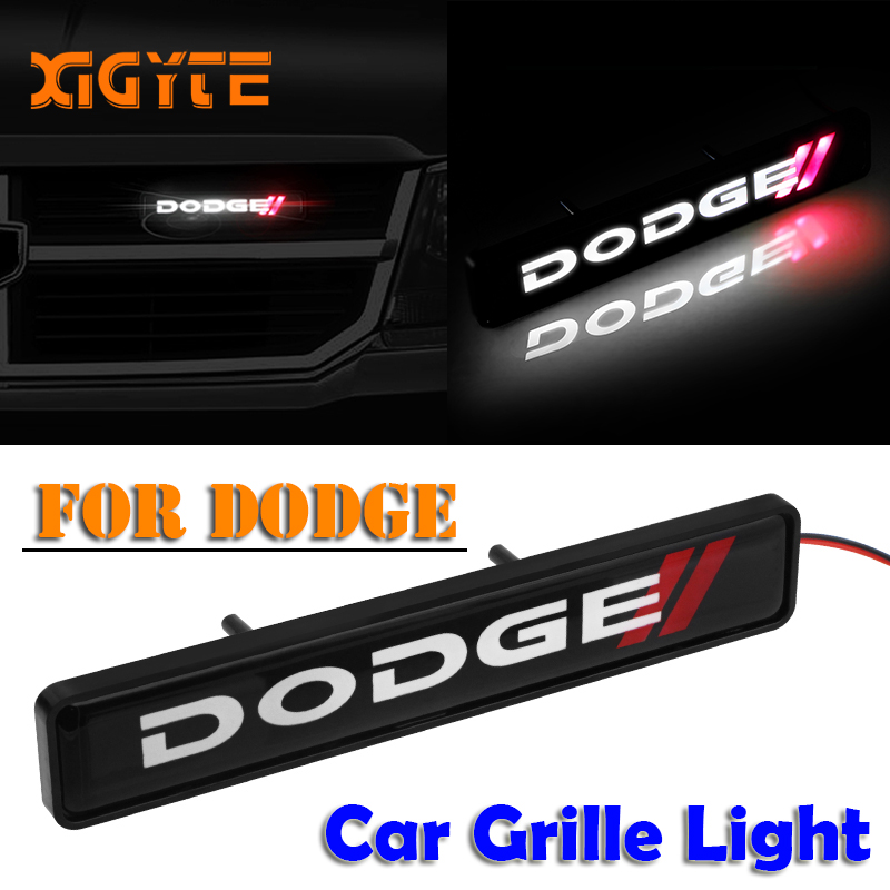 ABS Chrome Grille Emblem Badge LED Decoration lights Car Logo Sticker For Dodge caliber ram 1500 caravan charger grand caravan journey