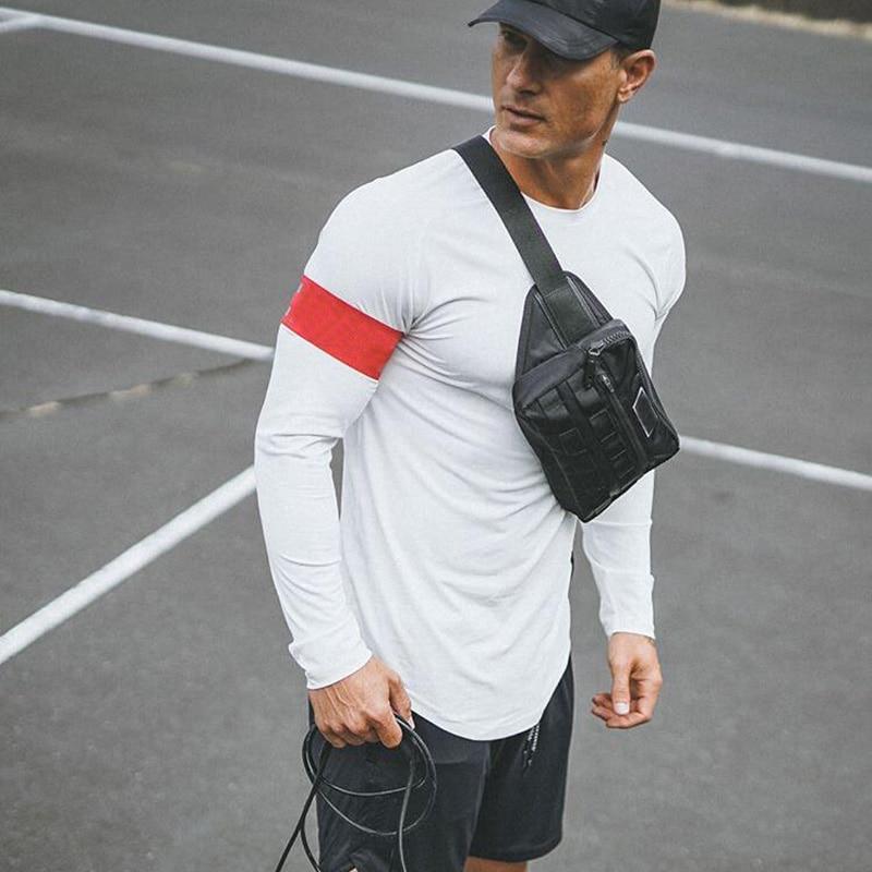 Brand Mesh T Shirt Men Fitness Long Sleeve T-shirt Solid Extend Long Slim Fit Tees Gym Clothing Bodybuilding Tshirt Male