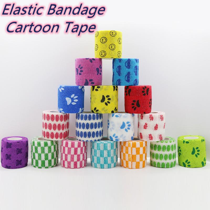 Cartoon Tape Waterproof Self-Adhesive Elastic Bandage First Aid Medical Health Care Treatment Gauze Tape Emergency Muscle Tape