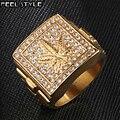 Iced Out Unkraut Maple leaf Bling Gold Edelstahl Ring Micro Gepflasterte Strass Ringe für Männer HIP Hop Schmuck