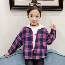 Girls Plaid Blouse Turn-down Collar Hooded Top New Spring Autumn Kids Fashion Cotton Long Sleeve Blouses Children School Shirts girls plaid blouse 2019 spring autumn turn down collar teenager shirts cotton shirts casual clothes child kids long sleeve 4 13t