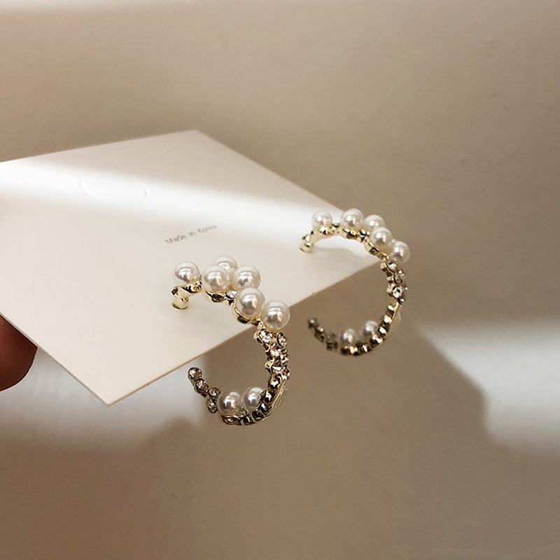 MENGJIQIAO Korean New Handmade Elegant Pearl Crystal Cute Hoop Earrings For Women Students Circle Boucle d'oreille Jewelry Gifts