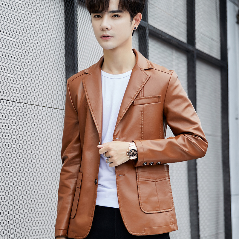 2019 Autumn New Men Leisure PU Leather Suit Young Fashionable Pair Of Pure Color Skin Suit