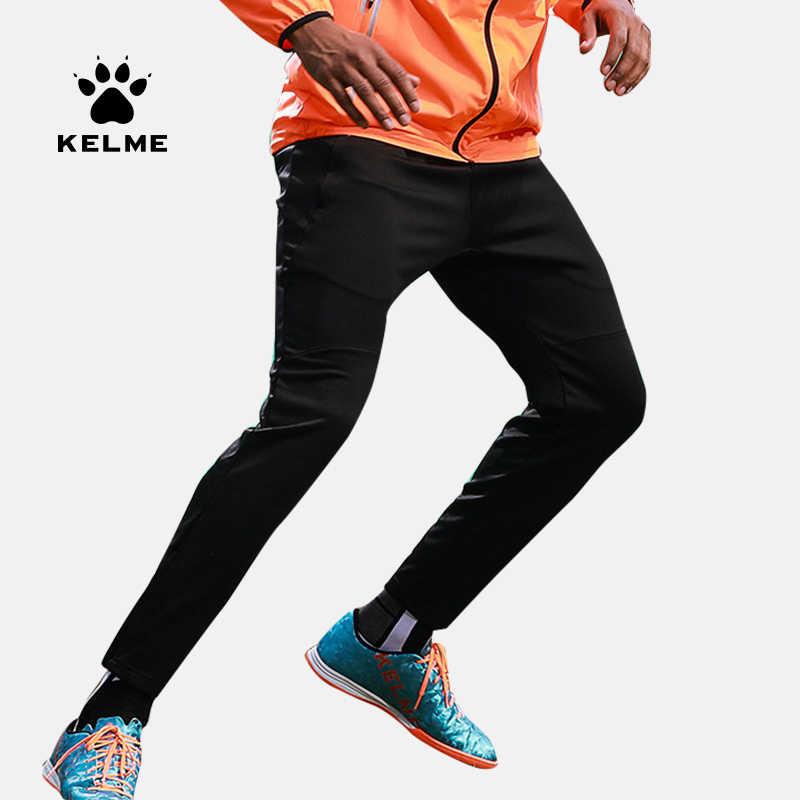 KELME męskie trening piłkarski spodnie jesień i zima zagęścić odzież sportowa piłka nożna czarne spodnie dresowe K15Z406