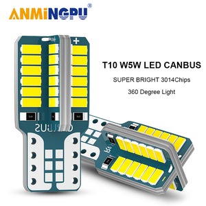 ANMINGPU Signal Lamp T10 W5W LED Canbus 48SMD 3014Chips Led W5W 501 Clearance Light Reading Lights Interior Lights White 12V