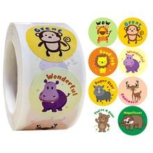 50-500pcs creative animals stickers 1inch labels reward sticker for school teacher kids smiley stationery sticker