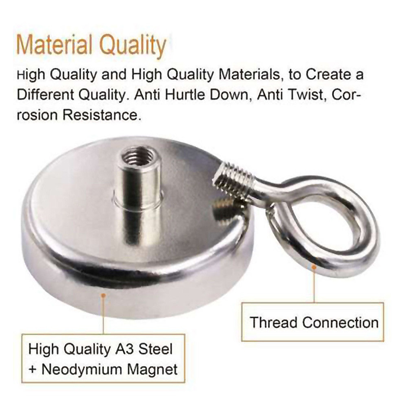 US 91//150//180LBS FISHING MAGNET Super Strong Neodymium Round Thick Eye Bolt