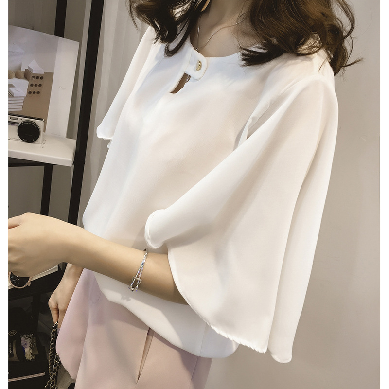 short sleeve 2020 summer women's shirt blouse for women blusas womens tops and blouses chiffon shirts ladie's top plus size 7