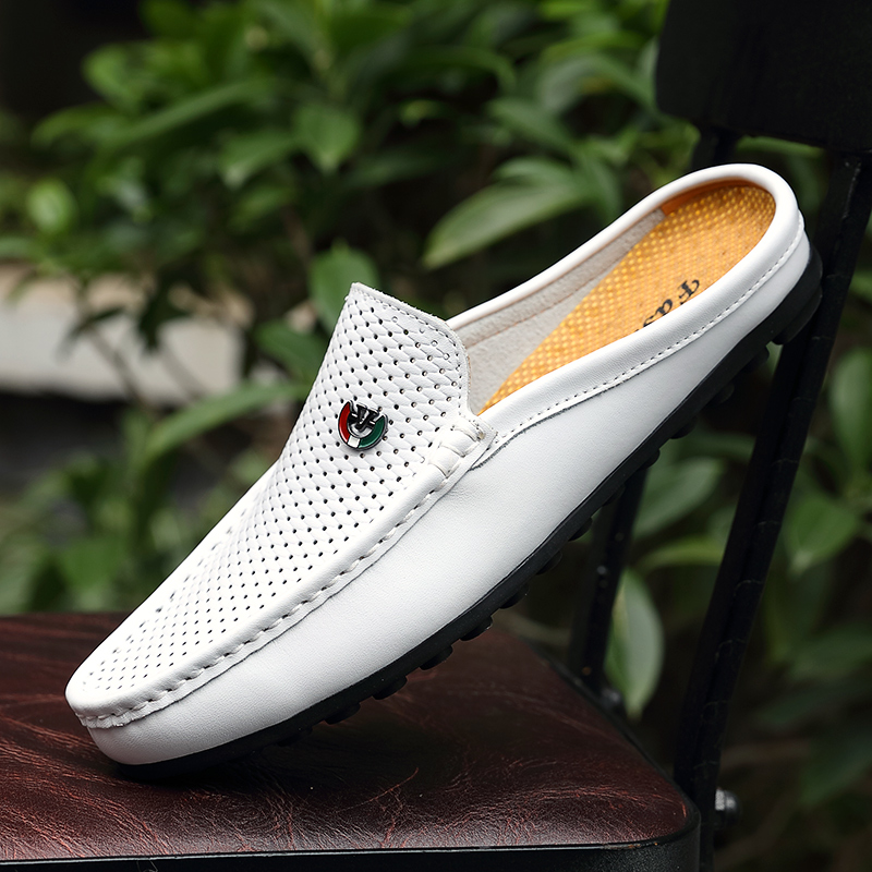 New Popular Loafers Shoes For Men Summer Half slippers For Men Breathable Slip On Casual Sneakers Man Fretwork Half Drag Shoe Men