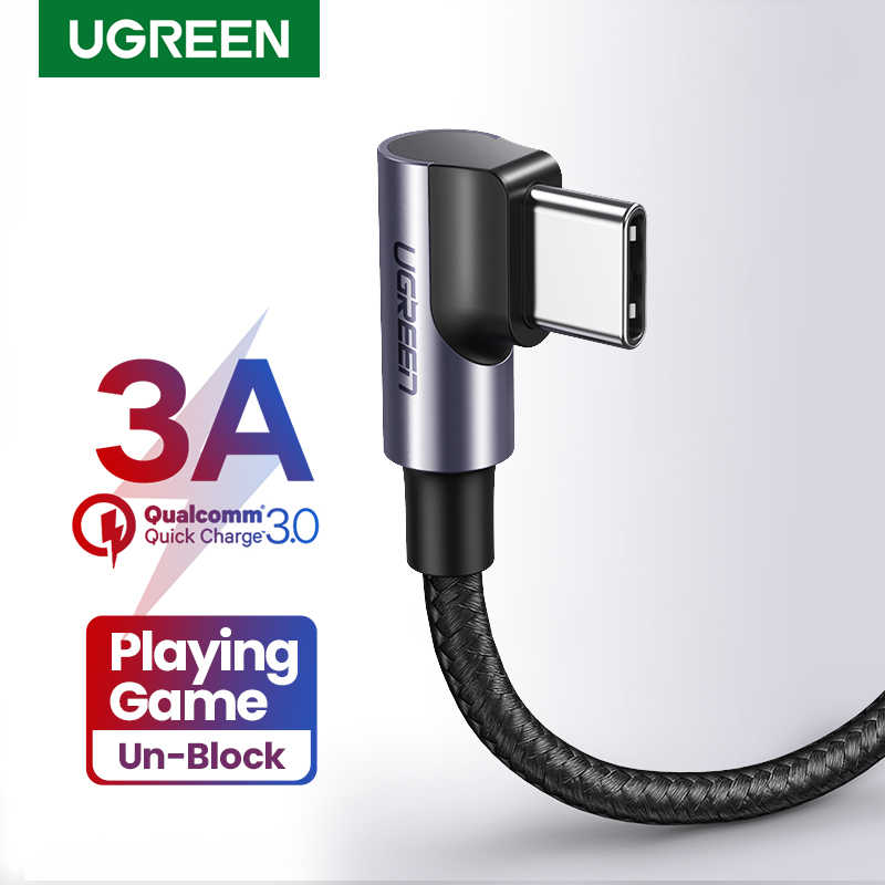 UGREEN USB CสายเคเบิลมุมขวาUSB AถึงType C 3A Fast ChargerสายสำหรับSamsung S10 S9 S8 PLUS Note9 Quick Charger 3.0 USB