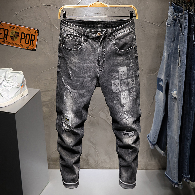 High-End With Holes Printed Jeans Men's Korean-style Elasticity Skinny Slim Fit Capri Pants Quality Cool Teenager Pants
