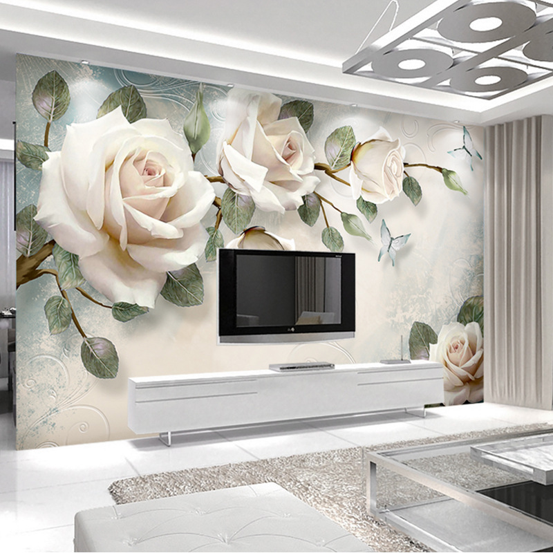 European Style 3D TV Backdrop Wallpaper Modern Living Room Glorious TV Wall Decoration 5D Stereo Rose Flower Wall