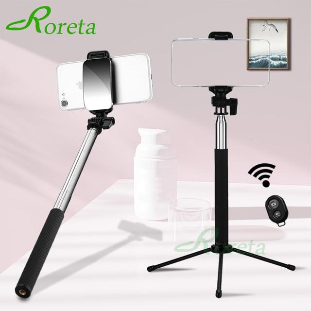 Roreta 3 w 1 bezprzewodowy kijek do selfie Bluetooth z lustrem składany Mini statyw rozszerzalny monopod z pilotem Bluetooth