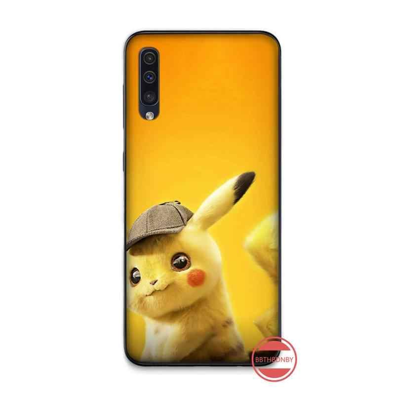 Pokemon Pikachuน่ารักซิลิโคนโทรศัพท์สีดำกรณีสำหรับSamsung A20 A30 30S A40 A7 2018 J2 J7 PRIME j4 PLUS S5 หมายเหตุ 9 10 PLUS