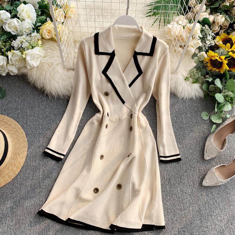 ALPHALMODA Retro Autumn Dress 2019 New Lapel Collar Long-sleeved Dress Double-row Button-down Slim OL Casual Knit Dress 34