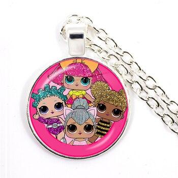 Fashion Cute Pretty Girls Minnie Style Kids 25mm Glass Dome Cabochon Necklace Kawaii Sweater Chain Jewelry Gift For Women Girls