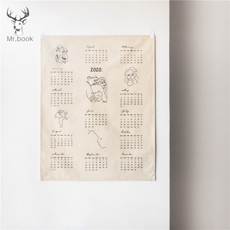 2020 Home Office Vintage Calendar Cafe Wall Decorative Rustic Ornaments DIY Cotton Abstract Print Calenda Photo Background Cloth
