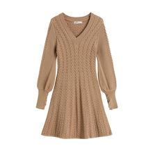 Осенне зимнее Новое Женское повседневное свободное вязаное платье