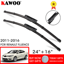 цена на KAWOO Car Wiper Blades for Renault Fluence 24&16 Fit Bayonet Arms 2011 2012 2013 2014 2015 2016 Rubber Windshield Wiper Blade