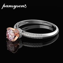 PANSYSEN Romantic Pink Quartz Created Moissanite 100% 925 St