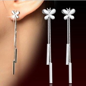 Fashion  silver color Earrings Tassel Butterfly Chain Earrings Vintage European And American Women Plata Earrings Ear Jewelry 1