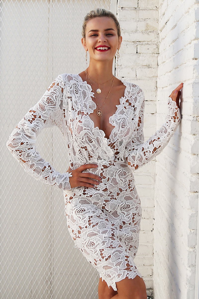 BGW Cut Out Lace Sexy Deep V Neck Full Sleeves Straight Short Cocktail Dresses White Cocktail Party Dress Vestido Coctel Corto