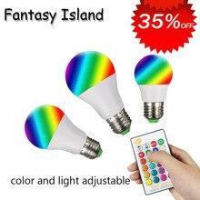 E27 B22 RGB AC85-285V LED Bulb Lights 3W 5W 10W RGB  Changeable Colorful RGBW LED Lamp With IR Remote Control+Memory Mode стоимость