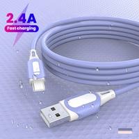 2,4 EINE Flüssigkeit Silikon Schnelle Ladekabel Micro USB Typ C Kabel für Samsung Huawei Xiaomi One Plus Lade Draht daten Kabel