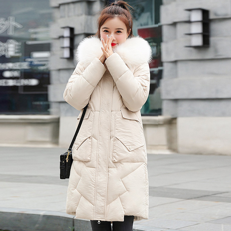 2019 Winter Women Coats Fur Collar Long Hoodie Down Cotton Parkas Jacket Plus Size Long Hooded Down Thick Parkas