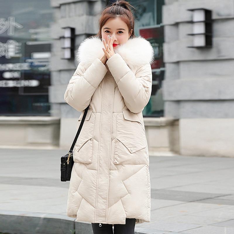 2019 Winter Women Coats Fur Collar Long Hoodie Down Cotton Parkas Jacket Plus Size Long Hooded Down Thick Parkas
