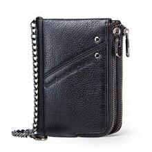 Мужской кошелек из натуральной кожи с защитой от кражи, многофункциональная двойная молния, кошелек для монет, ID, кредитный держатель для карт, передний карман, кошелек