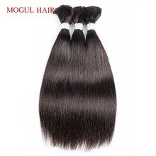 Mogul Hair Straight Human Hair Bulk for Braiding Natural Color Indian Non-Remy Human Braiding Hair Bulk Extensions Wholesale