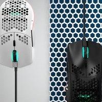 Aj390 gaming mouse com fio rgb luz 8 botões programáveis sensor óptico gamer ratos jogo preto mouse design ergonômico