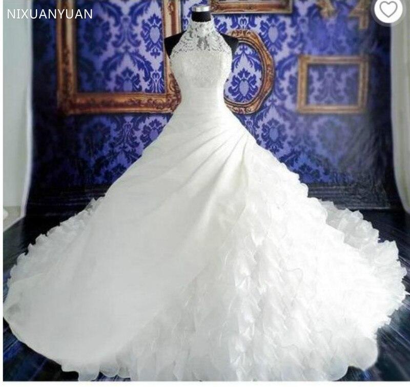 2020 New Halter Wedding Dress Vestido De Noiva Sheer Lace Organza Ruffles Pleat Wedding Dresses Zipper Bridal Gowns