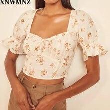Xnwmnz za женские винтажные Блузы с цветочным принтом mujer