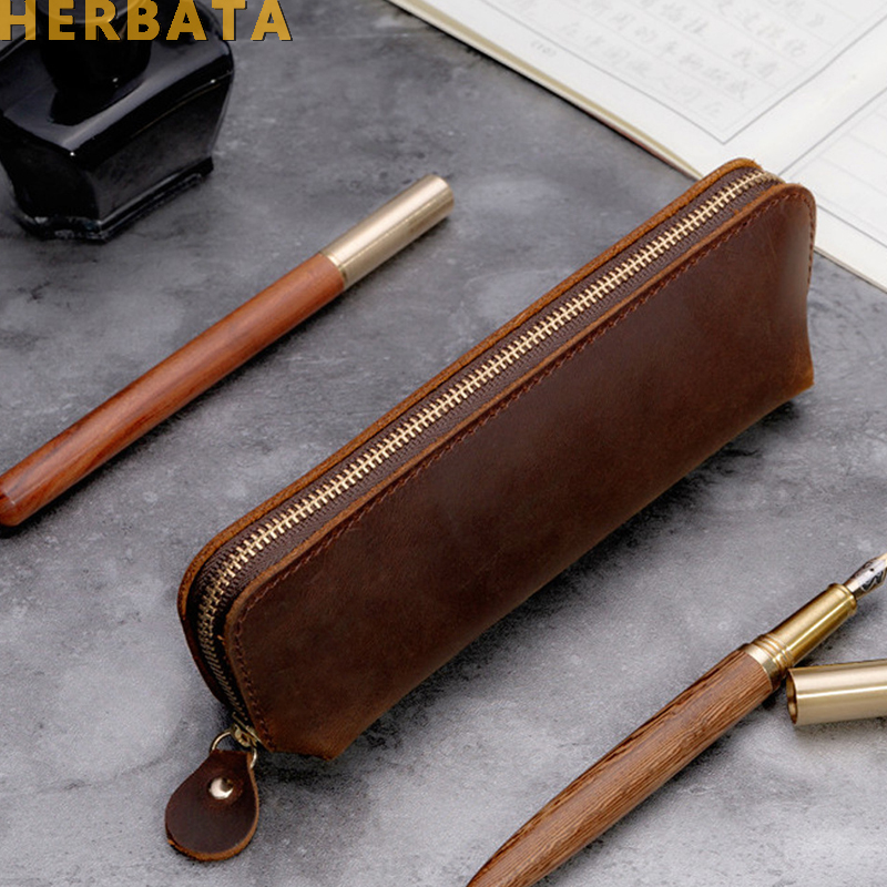 Handmade Genuine Leather Pencil Bag Vintage Retro Style Cowhide Zipper Pen Case School Bag Glasses Case Office Stationery Gift