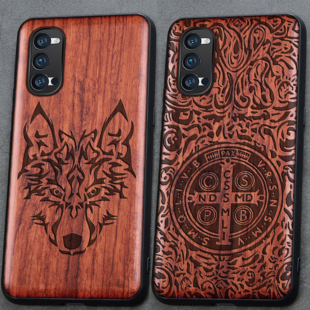 3D Carved Wood Cartoon Bear Case For Oppo Reno4 Reno 4 Pro 5G Dragon Lion Wolf Tiger Tree wooden carve Cover(China)
