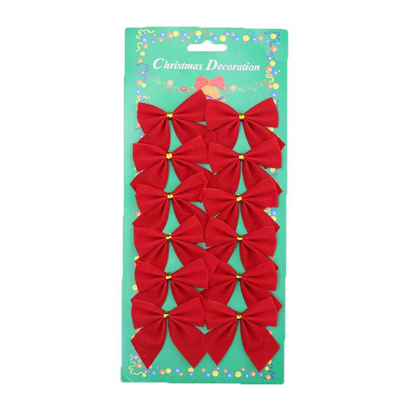 ตกแต่ง Bowknot เครื่องประดับ Xmas Tree ประดับ Wrap Bow Knot ผีเสื้อเข็มขัด 12 ชิ้น/ล็อตคริสต์มาสต้นไม้