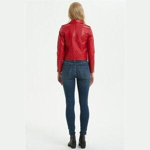 Image 5 - DK 2020 ใหม่มาถึงผู้หญิงฤดูใบไม้ผลิหนังสั้นแจ็คเก็ตหญิงซิป Moto BIKER Faux เสื้อสีดำสีแดง Outwear PLUS ขนาด