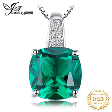 Nano Russian Emerald Engagement Wedding Pendant Solid 925 Sterling Solid Silver Square Cut Unique Design jewelrypalace luxury pear cut 7 4ct created emerald solid 925 sterling silver pendant necklace 45cm chain for women 2018 hot