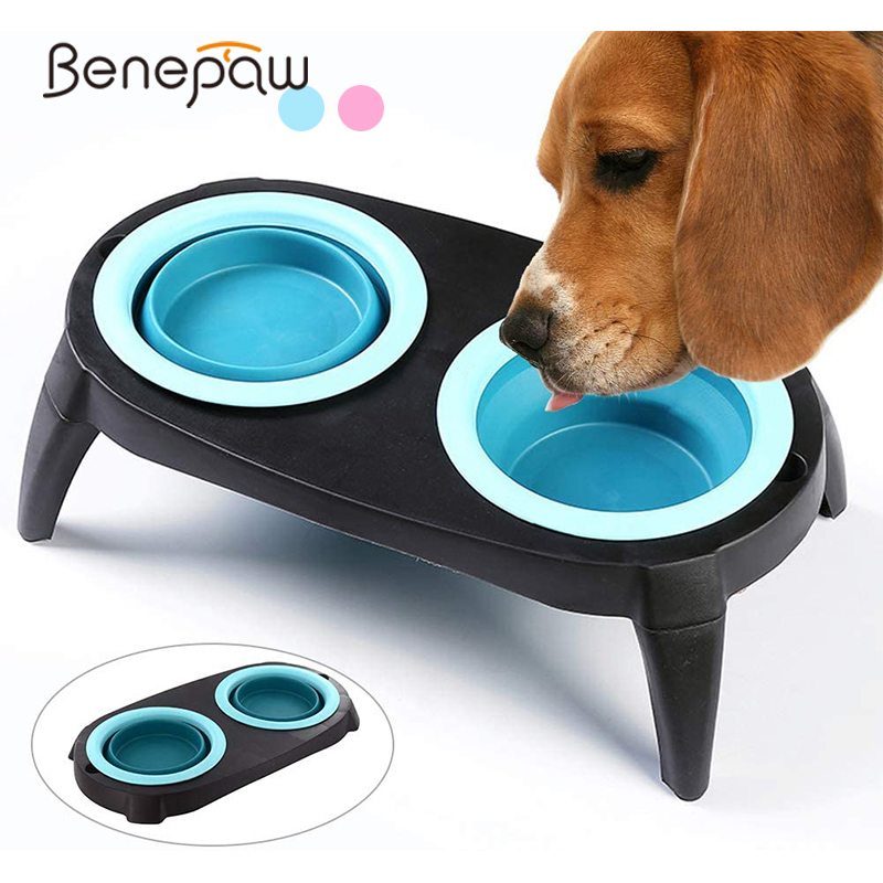 Benepaw Elevated Dog Bowl With Stand Durable Eco-friendly Foldable Detachable Leg Food Water Pet Feeder Dishes Dishwasher Safe