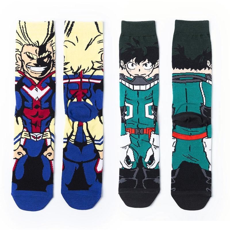 Funny Cartoon Anime My Hero Academia Print Socks Fashion Personalized Novelty Naruto Men Women Comfort Breathable Cotton Sock