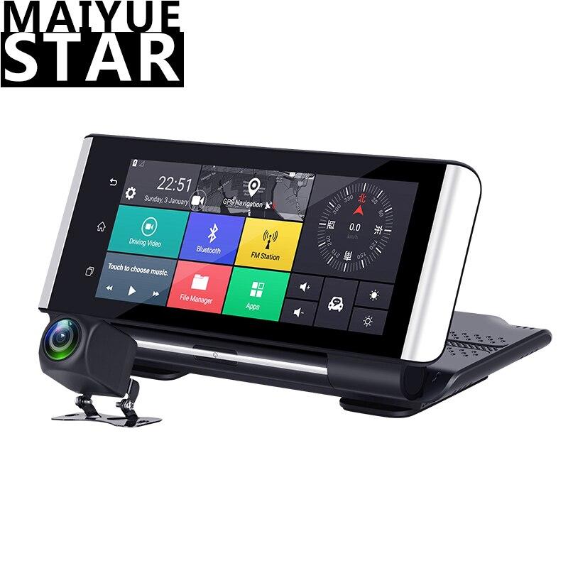 Maiyue stella 7 Pollici 4G Auto DVRFHD 1080P Android Dash Macchina Fotografica di GPS di Navigazione ADAS Auto Video Recorder Dual lente con Telecamera di retromarcia