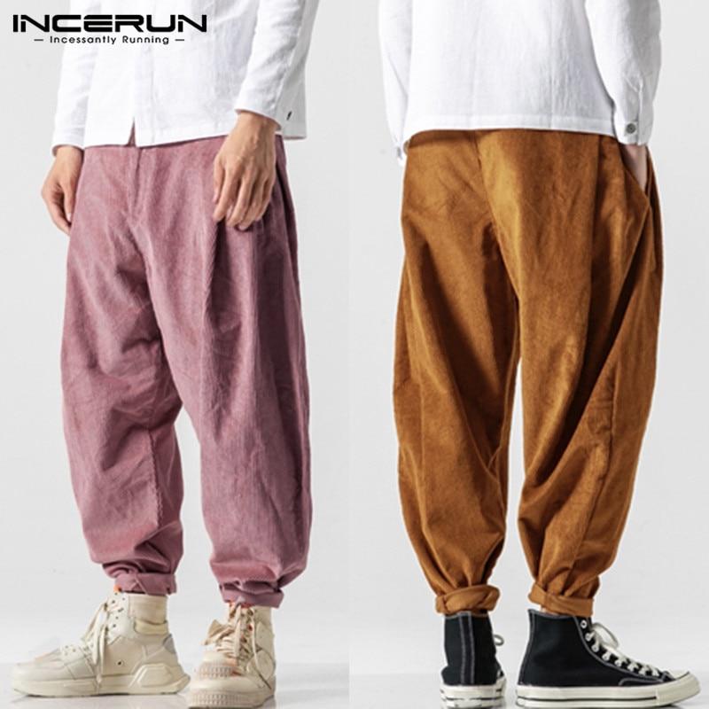 INCERUN Streetwear Men Solid Harem Pants Fashion Comfort Baggy Casual Trousers Joker Trend Mens Corduroy Sweatpants Joggers 5XL