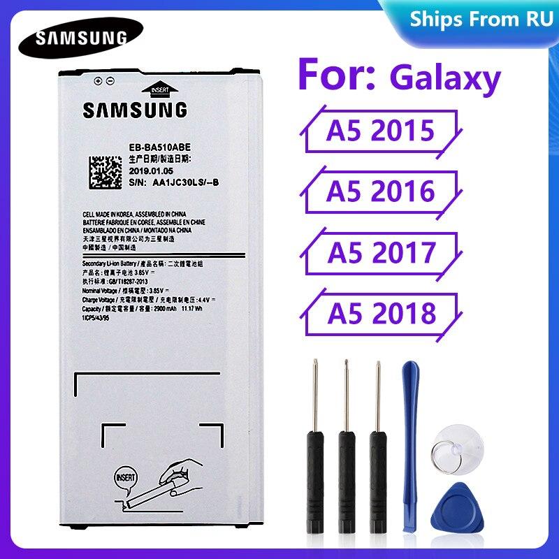 Original Battery EB-BA510ABE EB-BA510ABA For Samsung Galaxy A5 2015 2016 A5 2017 A5 2018 A510F A5100 Authentic Battery 2900mAh