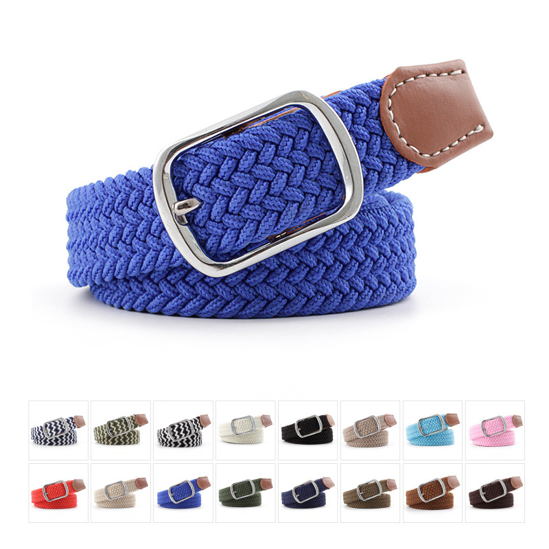 16 Colors Man/Women Canvas Pin Buckle Belts Casual Elastic Waistband Braided Belt Teenage Students Fashion Wild Jeans Belt P51