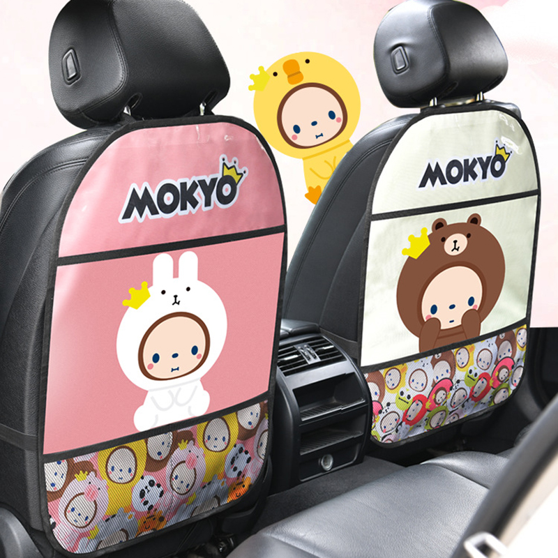 Cute Children Car Rear Seat Protector Cartoon Monkey Car Seat Back Cover Protector for Kids Baby Anti Kick Mat Pad Storage Bag