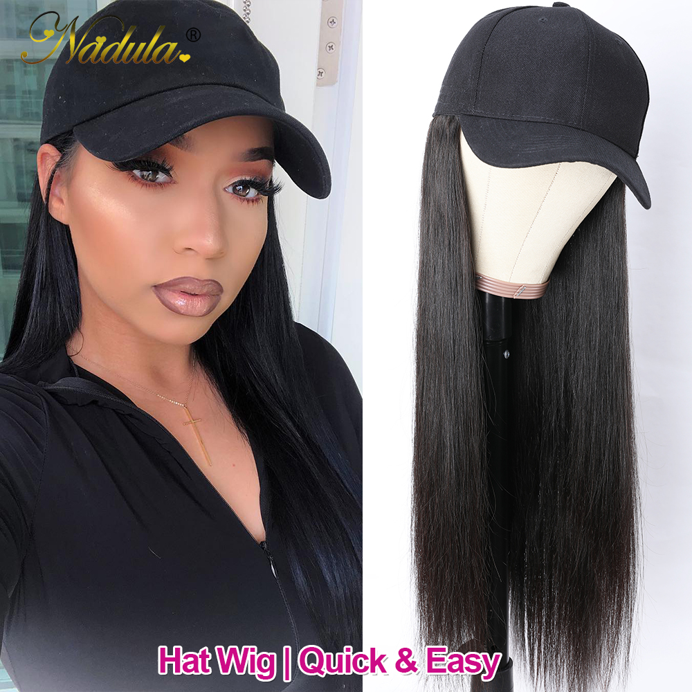 Nadula Straight Hat With Hair Wig  20inch Hat Wig Baseball Cap Wig Hat With Straight  Wigs 150% Density 4