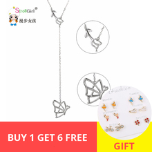 StrollGirl 925 Sterling Silver Chain Pendant  Necklace Fashion Jewelry Feather & butterfly Necklaces & Pendants For Women 2018 недорого