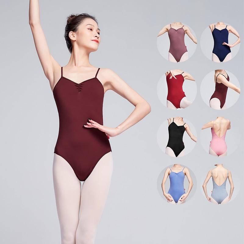 Ballet Leotards For Women Adult Dance Camisole Gymnastics Leotard Purple Clothes Sexy V Back Ballet Costume
